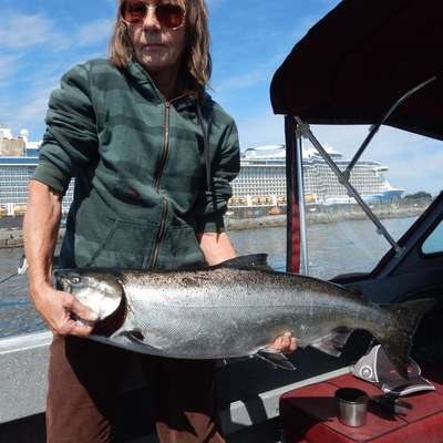 Liz Jatkowski caught a 20 lb 4 oz chinook