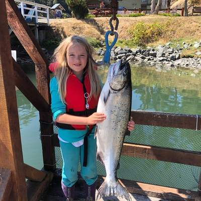Gracie-Jean Phillips caught a 77cm 18.5lbs Chinook out at the Bedford Islands on Wednesday August 12, 2020 around 8:30 am.