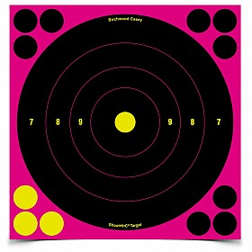 "BIRCHWOOD CASEY SHOOT-N-C 8"" PINK BULLSEYE TARGET 6 PACK"