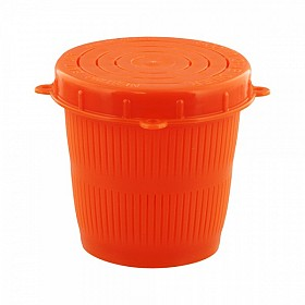 SCOTTY 672 VENTED BAIT JAR 1/2 L. FLUORESCENT RED JAR WITH LID