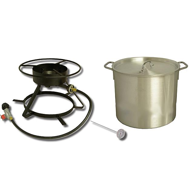 "KING KOOKER 12"" BOLT TOGETHER OUTDOOR COOKER WITH 42QT ALUMINUM POT AND LID 5002"