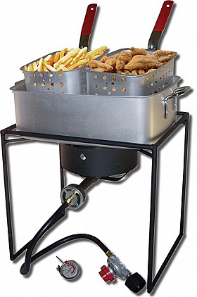 KING KOOKER 16 INCH OUTDOOR TWO BASKET FRYER 1618