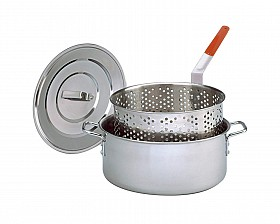 KING KOOKER STAINLESS STEEL DEEP FRY PAN WITH LID AND BASKET AND HEAT RESISTANT HANDLE