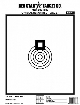 RED STAR BENCHREST 100YRDS TARGET 5 PACK